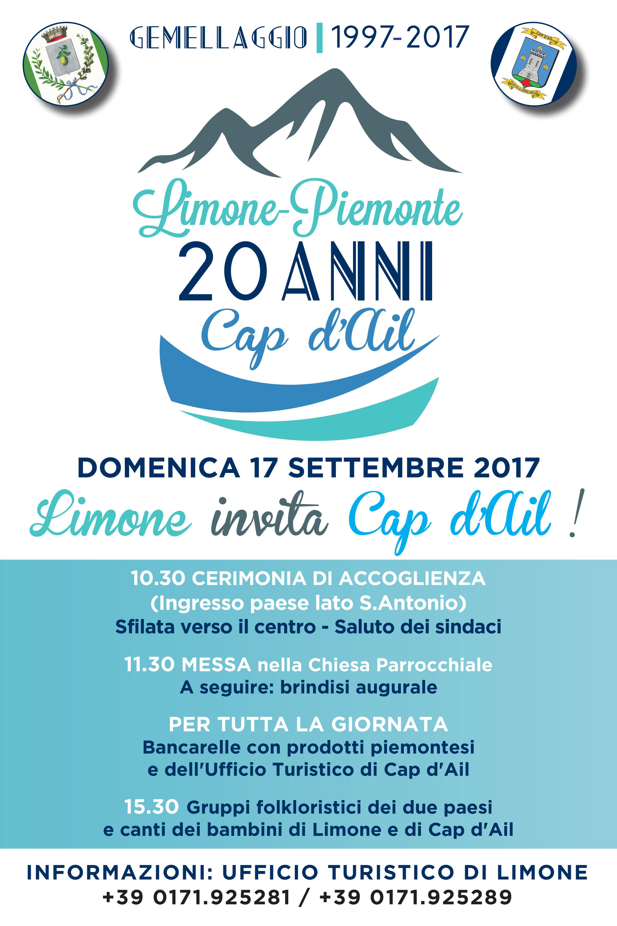 Locandina ventennale gemellaggio Limone Cap dAil