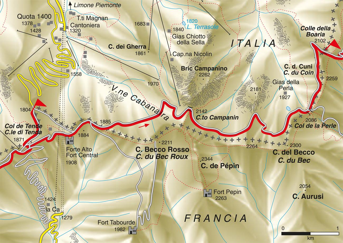 cartina percorso Colle di Tenda Colle della Boaria