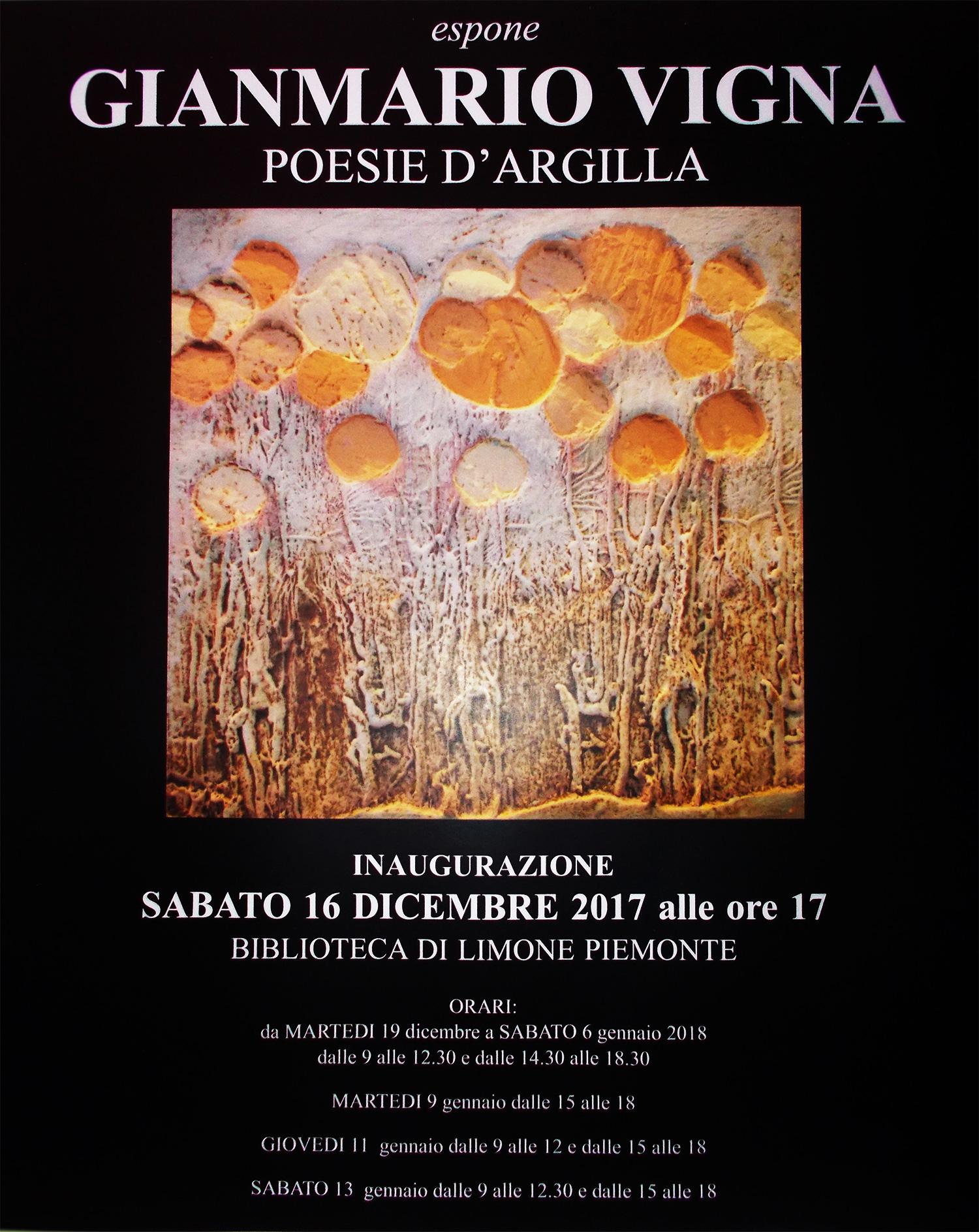 """""""Poesie d'argilla"""": la mostra di Gianmario Vigna a Limone da sabato 16 dicembre"""